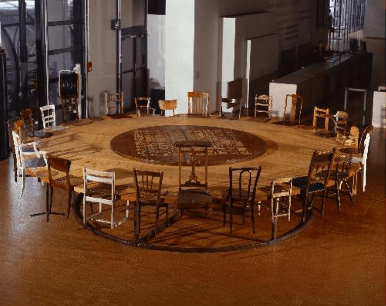 Round table, de Zhen CHEN, un exemple d'oeuvre d'art contemporaine étudiée en formation. Art dans la formation