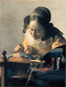 La Dentellière, peinture de Vermeer illustre la problématique de l'art en formation.