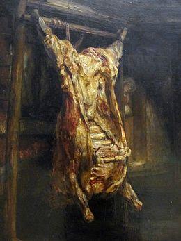 L'art dans la formation est abordé avec la peinture de Rembrandt Le Bœuf écorché, 1655
