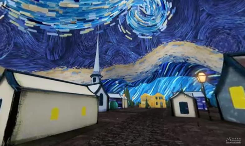 Vue d'une toile représentant une église, lors d'une nuit étoilée